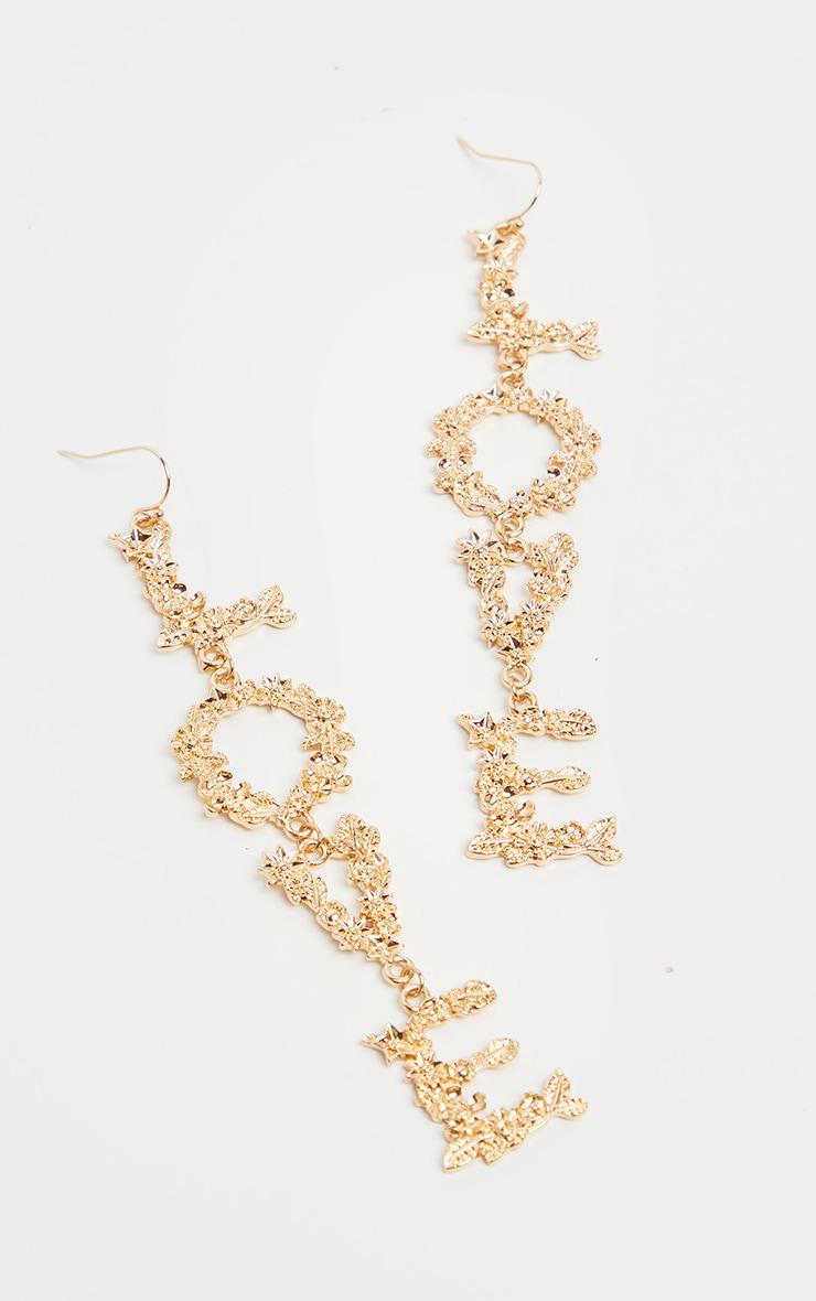 Gold Love Drop Earrings 3