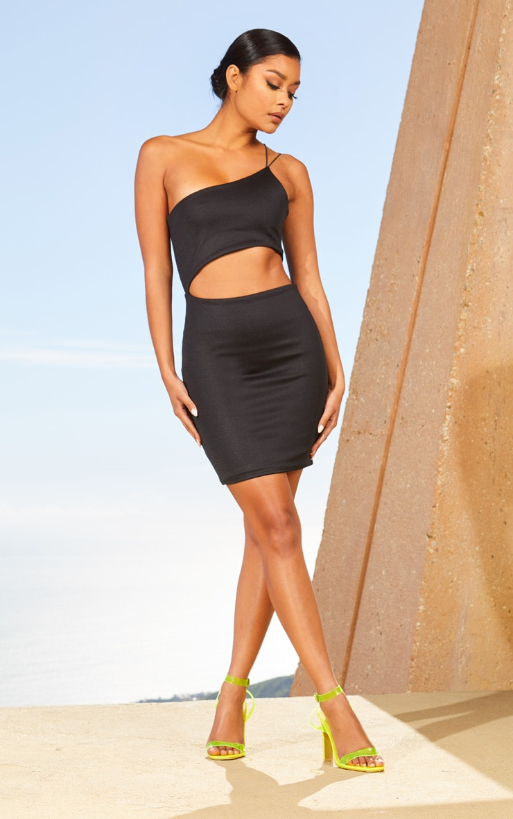 Black Second Skin One Shoulder Cut Out Bodycon Dress