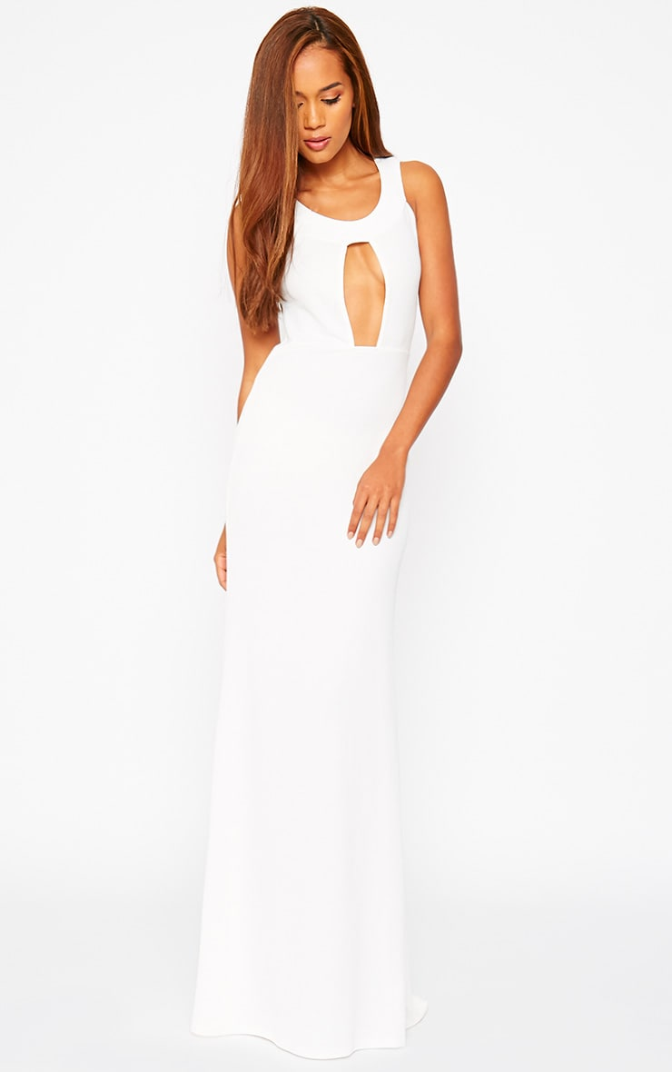 Brandy Cream Plunge Maxi Dress 2
