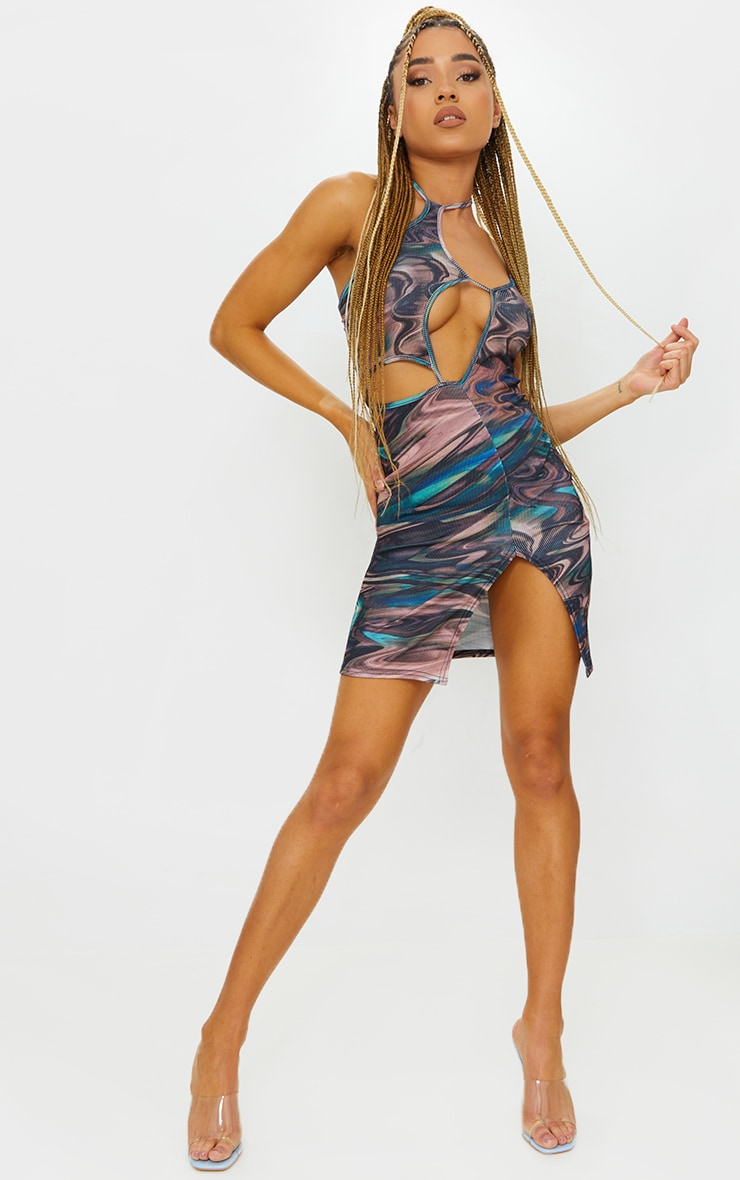Green Swirl Print Ribbed Cut Out Strappy Halterneck Bodycon Dress 3