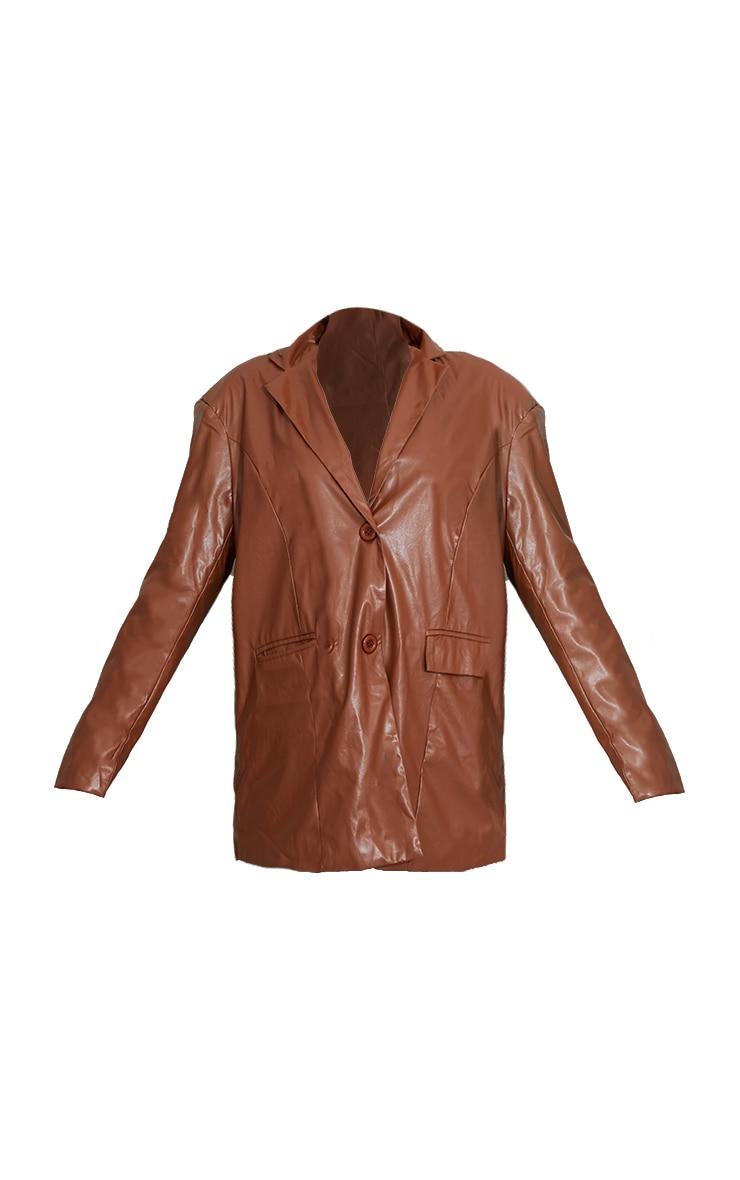 Toffee Faux Leather Oversized Dad Blazer 5