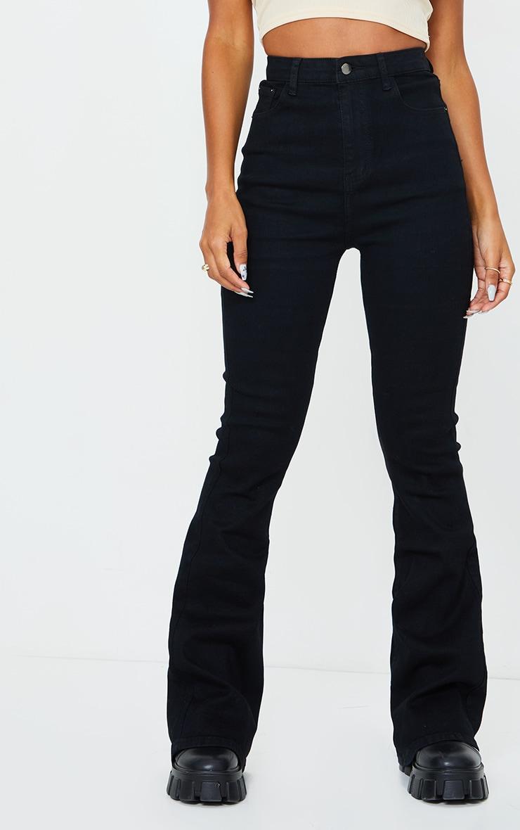 Black 5 Pocket Stretch Flared Jeans 2
