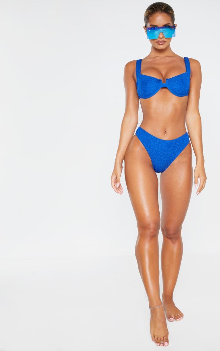 Blue Mini Crinkle Underwired Square Neck Bikini Top 4