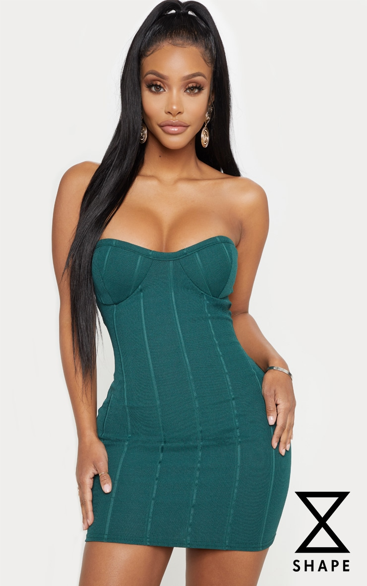 Shape Green Bandage Bust Cup Midi Dress by Prettylittlething