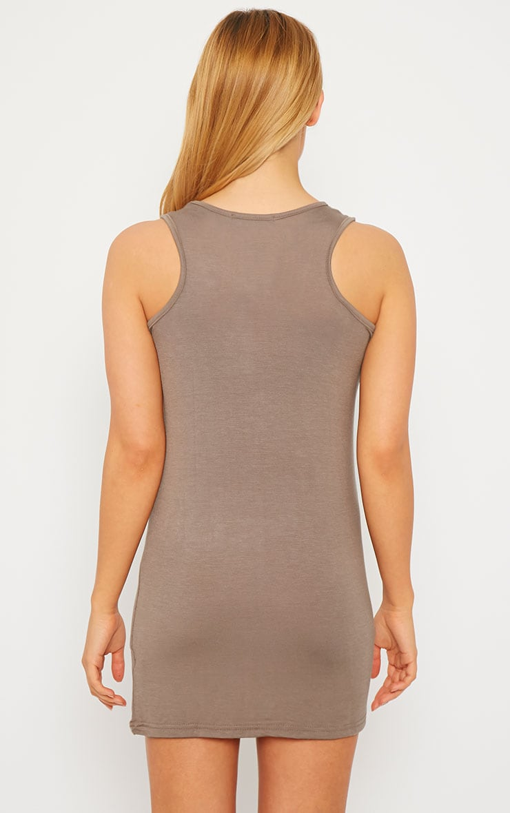 Basic Mocha Jersey Mini Dress 2