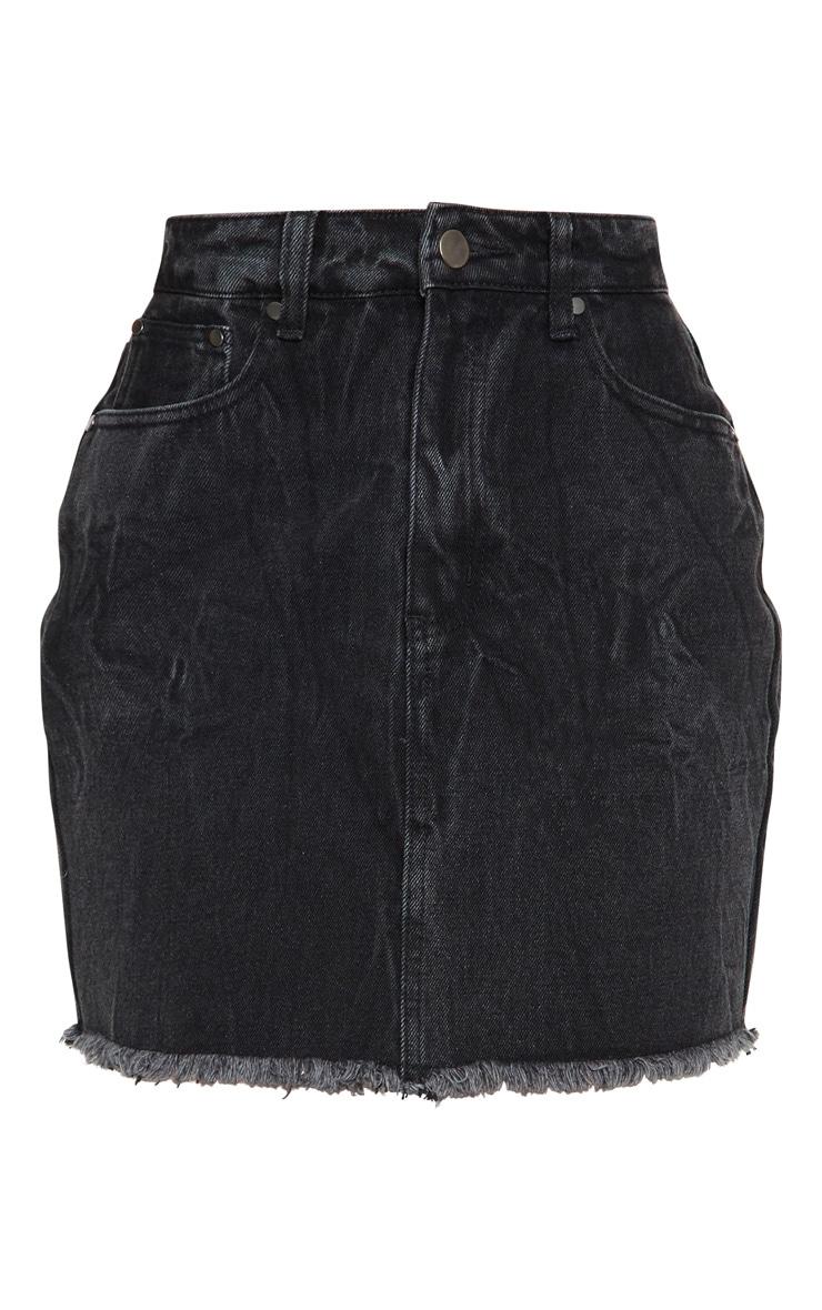 Washed Black Denim Skirt 6