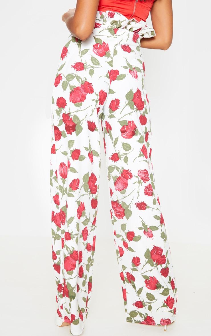 Rose Print Crepe Paperbag Wide Leg Pants 4