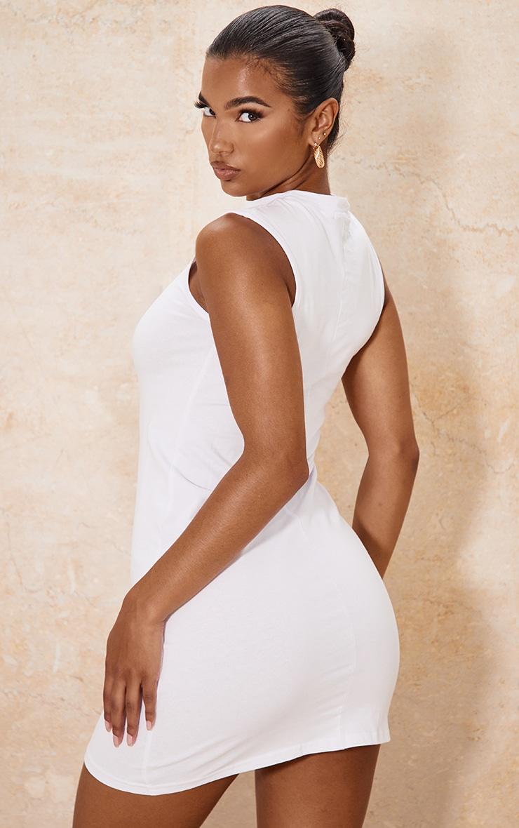 White Oversized Sleeveless T Shirt Dress 2