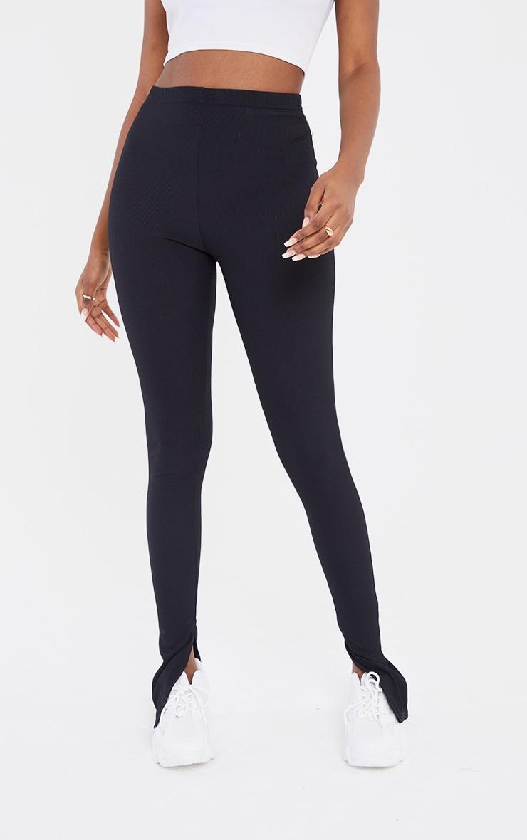 Tall Black Ribbed Split Hem Leggings 2