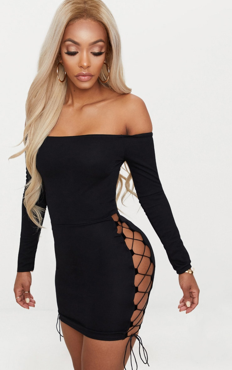 Shape Black Lace Up Detail Bardot Bodycon Dress 1