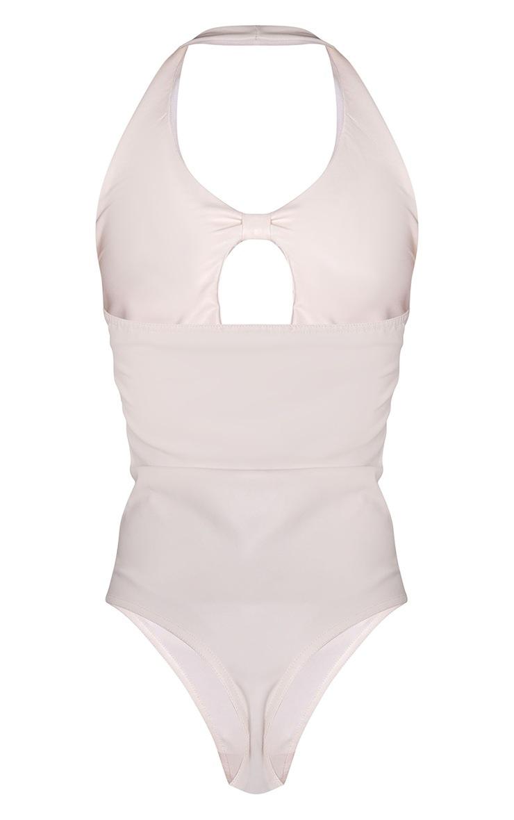 Cream PU Knot Front Halterneck Bodysuit 6