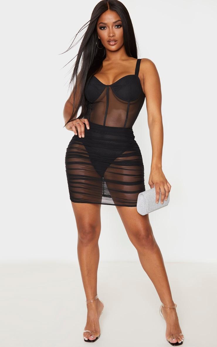 Shape Black Mesh Cup Detail Binding Bodycon Dress 4