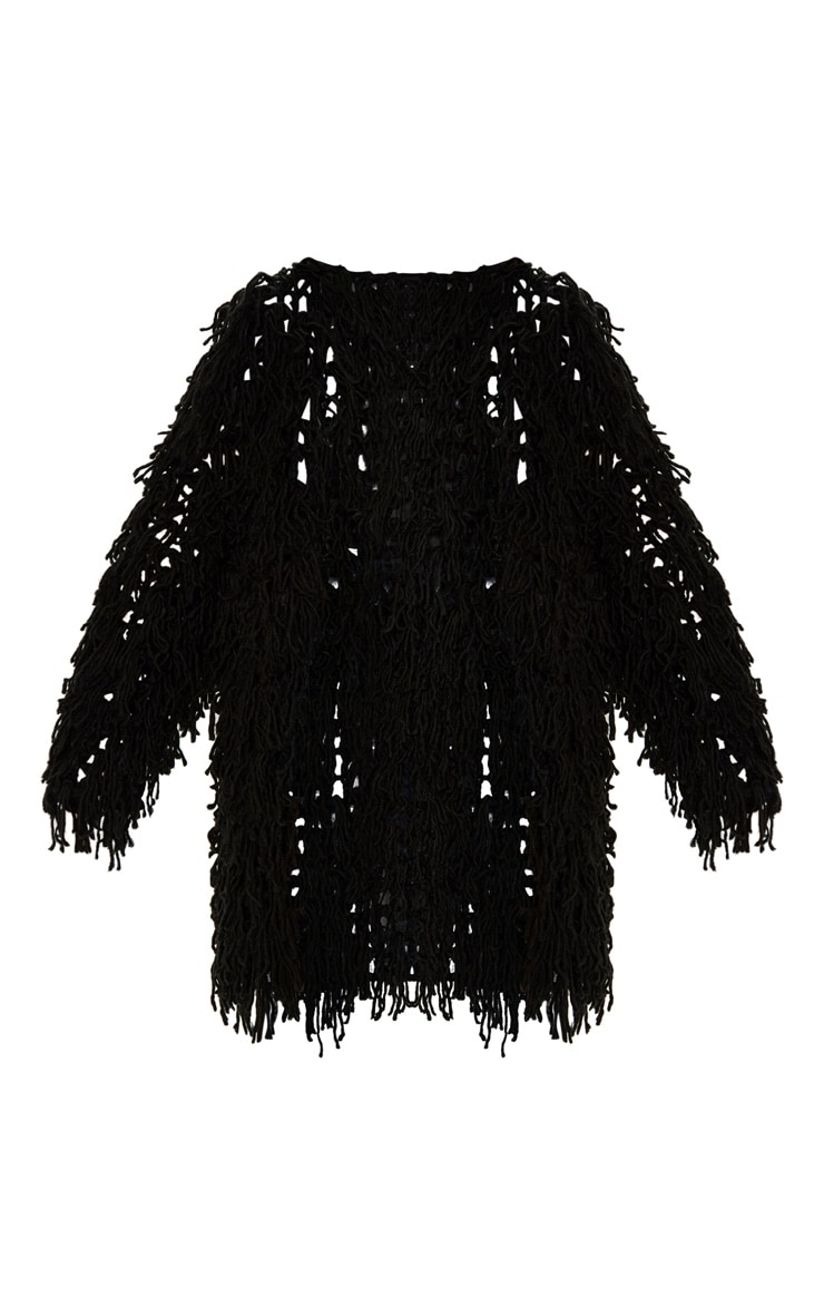 Aslina Black Shaggy Knit 3/4 Length Cardigan 3