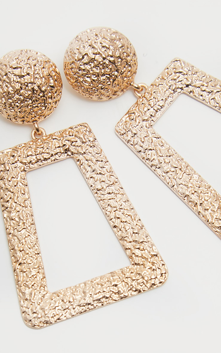 Gold Door Knocker Textured Oversized Square Drop Earrings 2