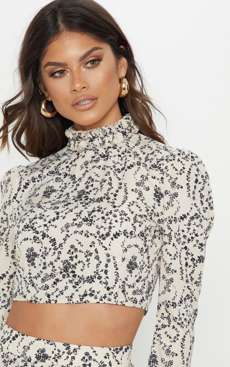 Cream Ditsy Floral Print High Ruffle Neck Blouse 5