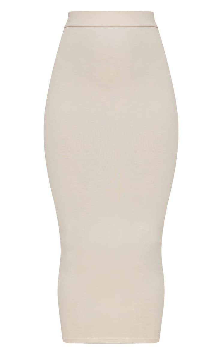 Cream Second Skin Bodycon Midaxi Skirt 3