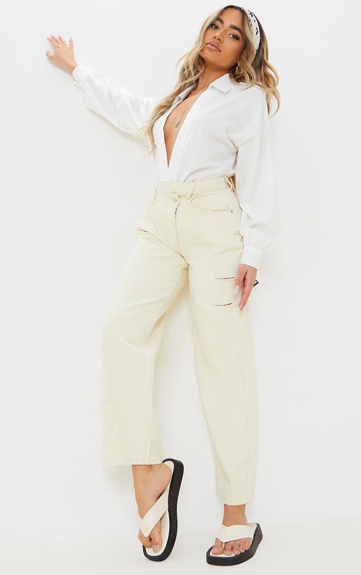 Petite Ecru Baggy Low Rise Asymmetric Waistband Thigh Split Boyfriend Jeans image 1