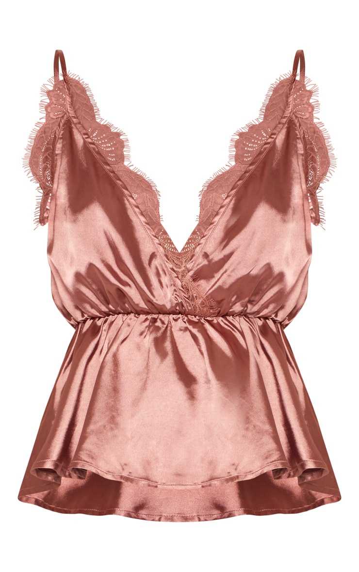 Rose Satin Eyelash Lace Detail Cami Top 3