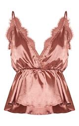 Rose Satin Eyelash Lace Detail Cami Top 1
