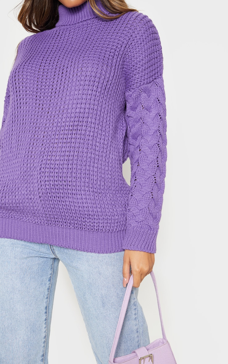 Violet Chunky Knitted Cable Sleeve Jumper  5
