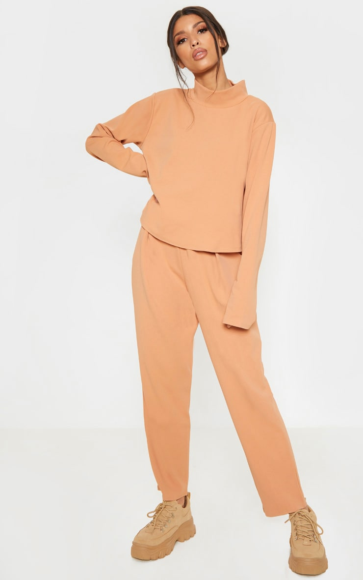 Pale Tan High Waisted Pleat Detail Tapered Trouser 1