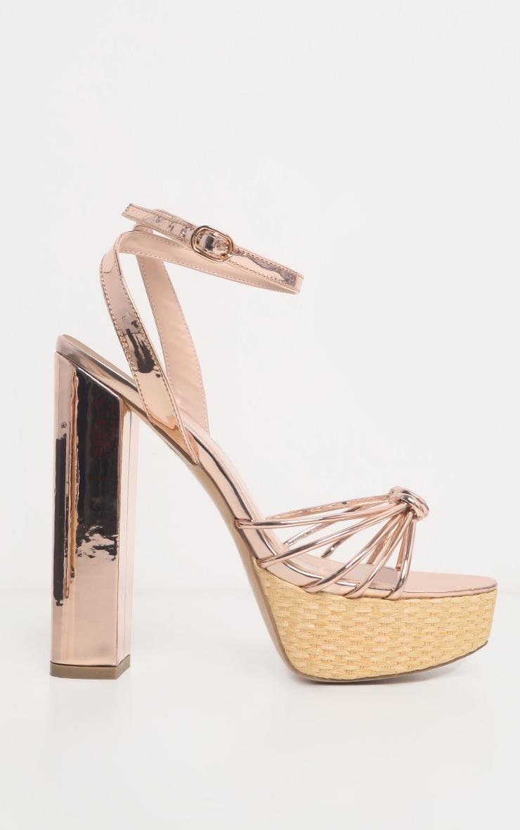 Gold Raffia Platform Sandal 4