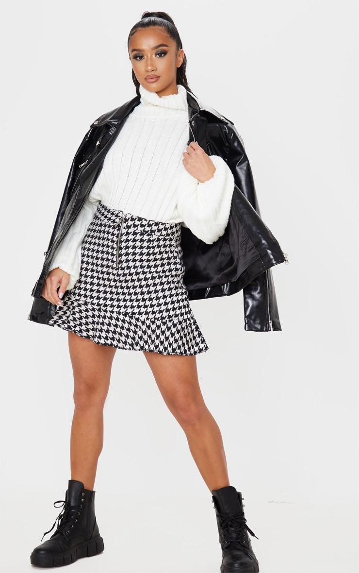 Petite Cream Flippy Hem Dogtooth Zip Mini Skirt 5