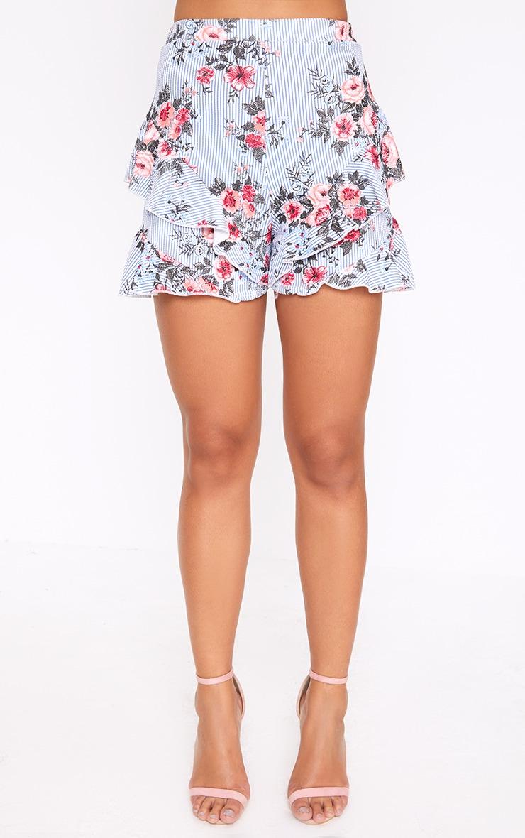 Navy Floral Stripe Frill Hem Shorts 2