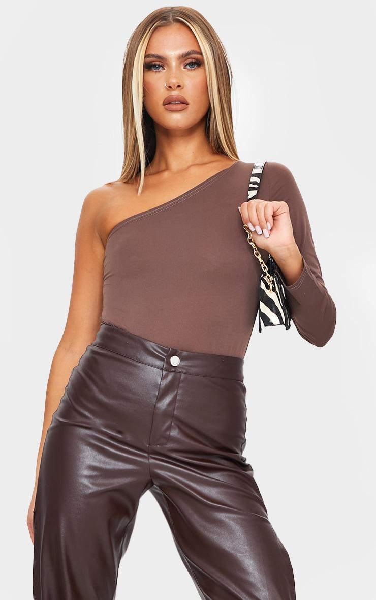 Chocolate Slinky One Shoulder Bodysuit 1