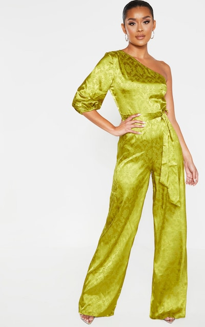 Dark Lime One Shoulder Satin Jacquard Jumpsuit
