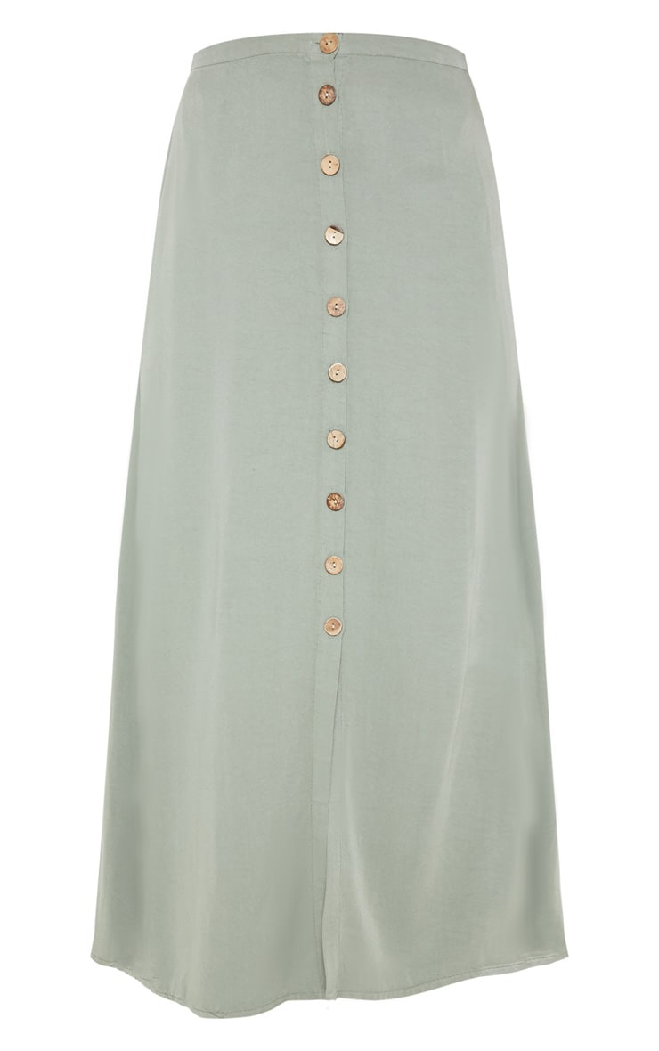 Sage Green Button Front High Waisted Midi Skirt 3
