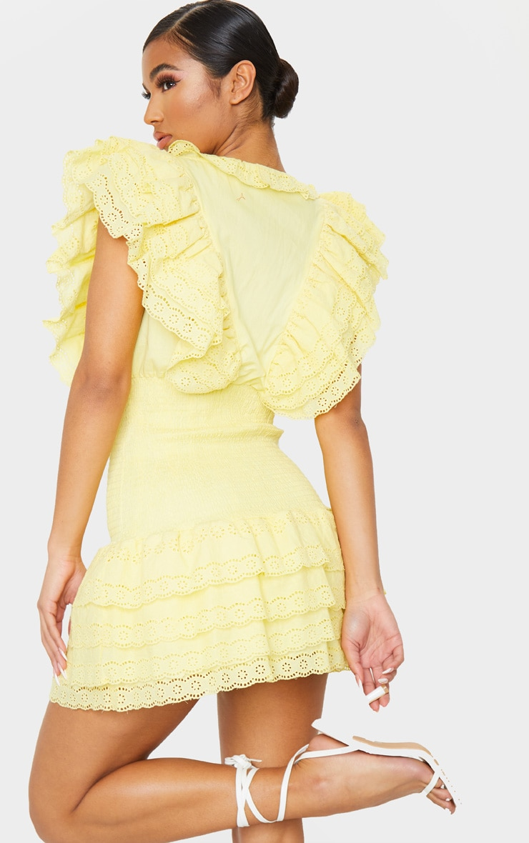 Lemon Broderie Anglaise Shirred Frill Bodycon Dress 3