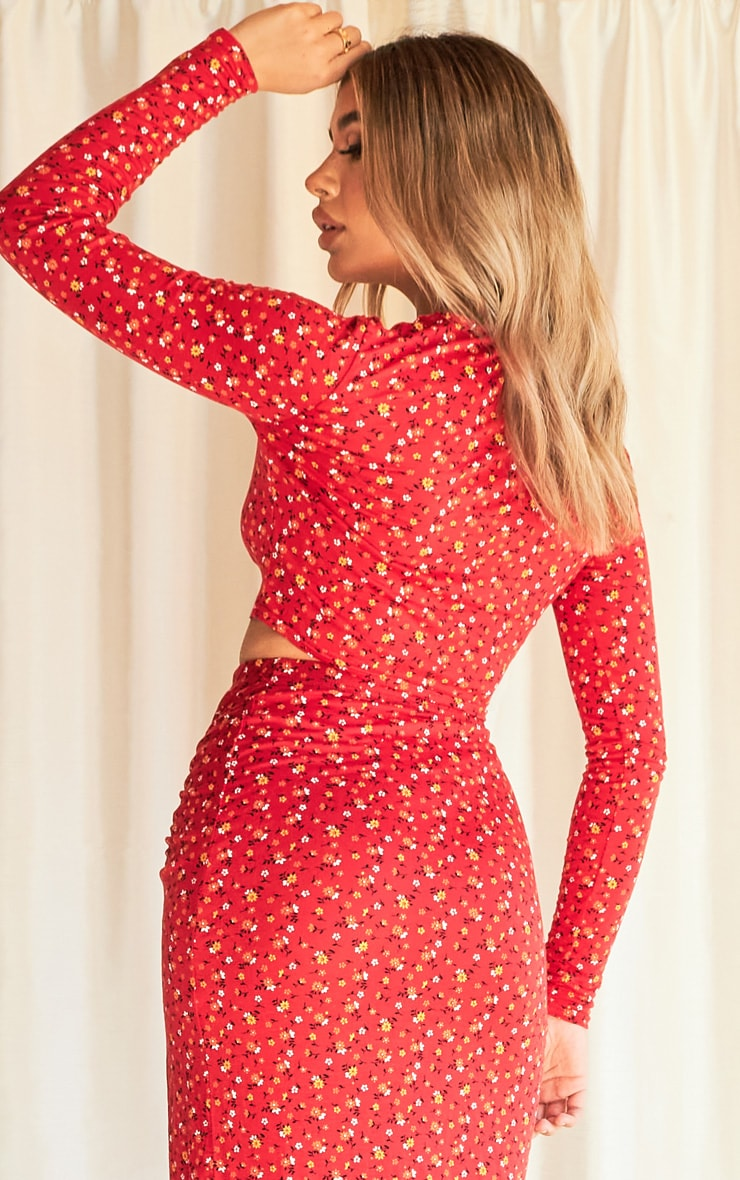 Red Ditsy Floral Print Frill Panel Wrap Front Long Sleeve Top 2