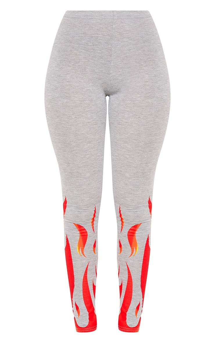 Flame Print Grey Marl Leggings 3