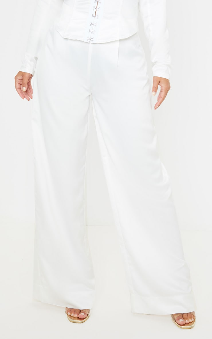 Petite White Satin Wide Leg Trouser  2