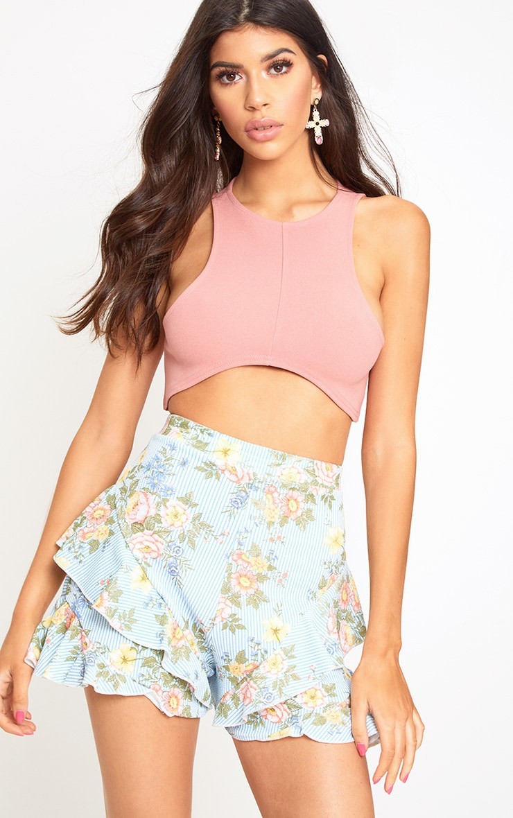 Light Blue Floral Stripe Frill Hem Shorts 1