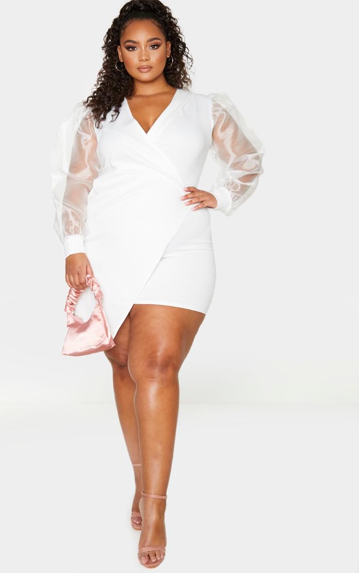 Plus White Organza Sleeve Wrap Dress 3