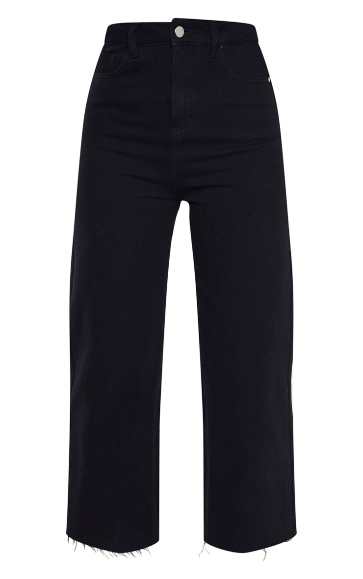 Tall Black Wide Leg Cropped Jeans 3