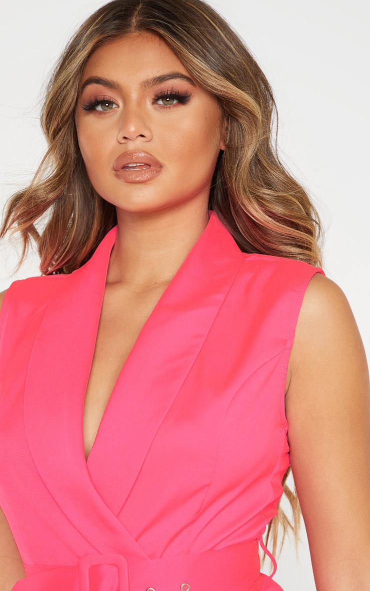 Pink Tailored Belted Romper 5