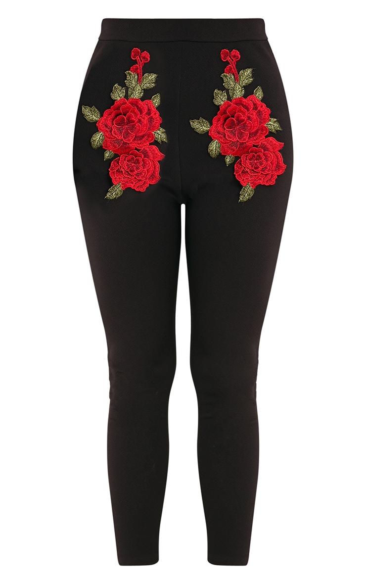 Roniya Black Rose Applique Skinny Trousers 3