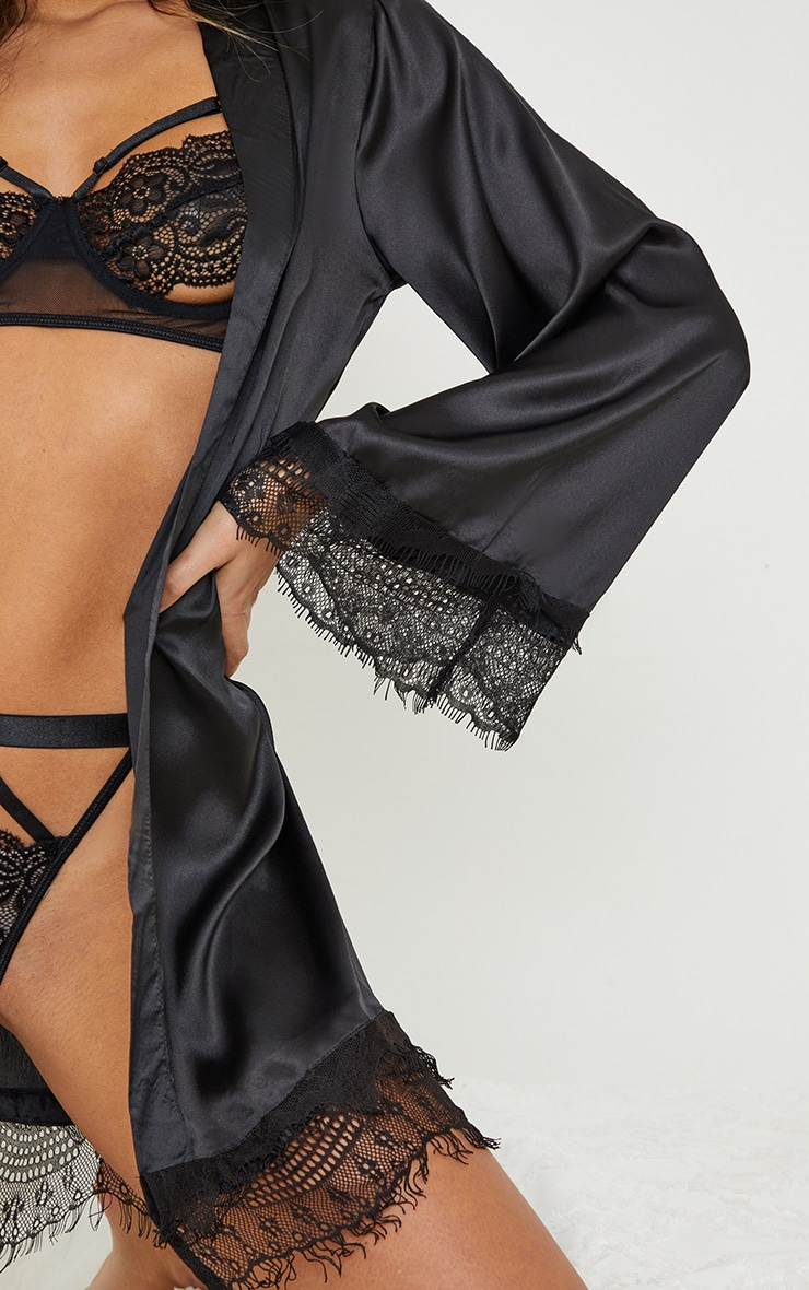 Black Premium Lace Trim Satin Robe 4