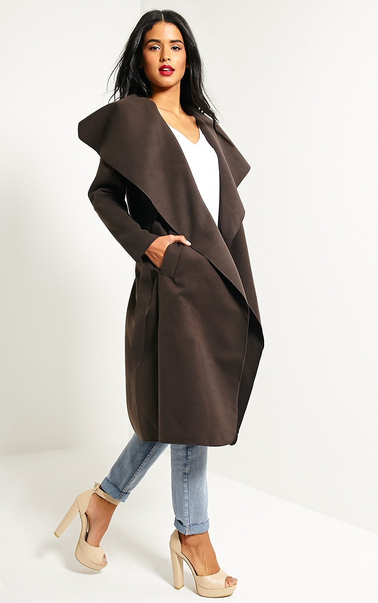 Veronica Chocolate Oversized Waterfall Belt Coat 3