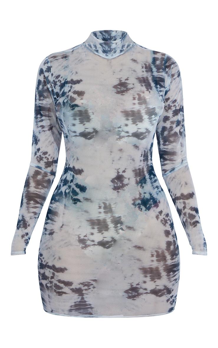 Shape Blue Tie Dye Sheer Mesh High Neck Bodycon Dress 5
