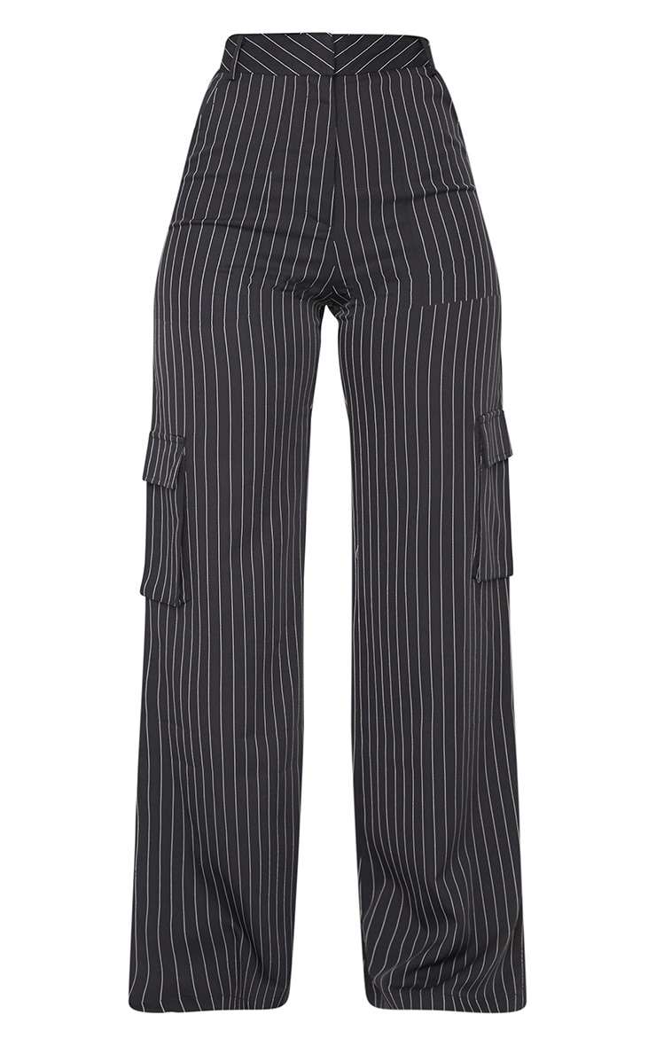 Black Pinstripe Wide Leg Pocket Detail Trousers 5