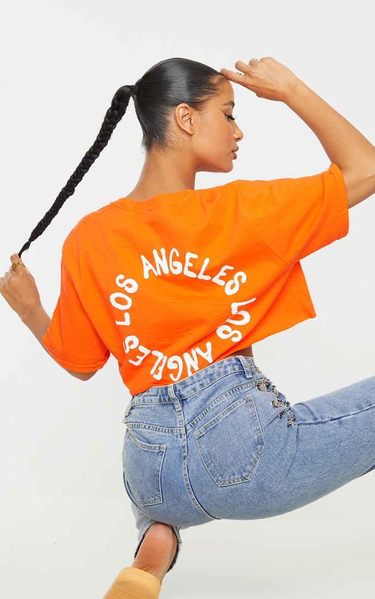 Orange LA Back Print Crop T Shirt 1