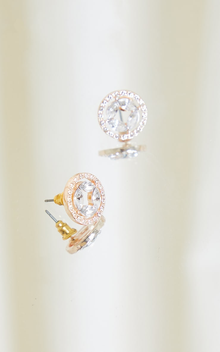 Gold Circular Diamante Small Stud Earring 3