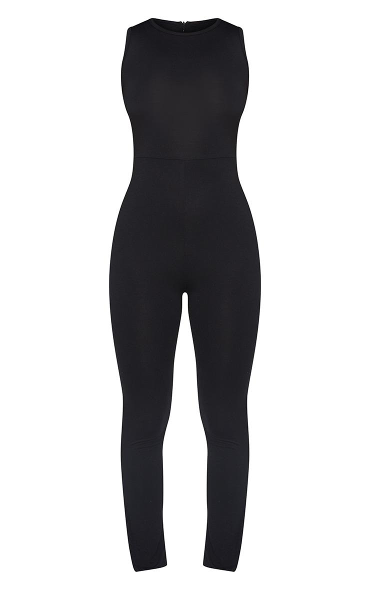 Petite Black Sleeveless Jersey Split Hem Jumpsuit 5