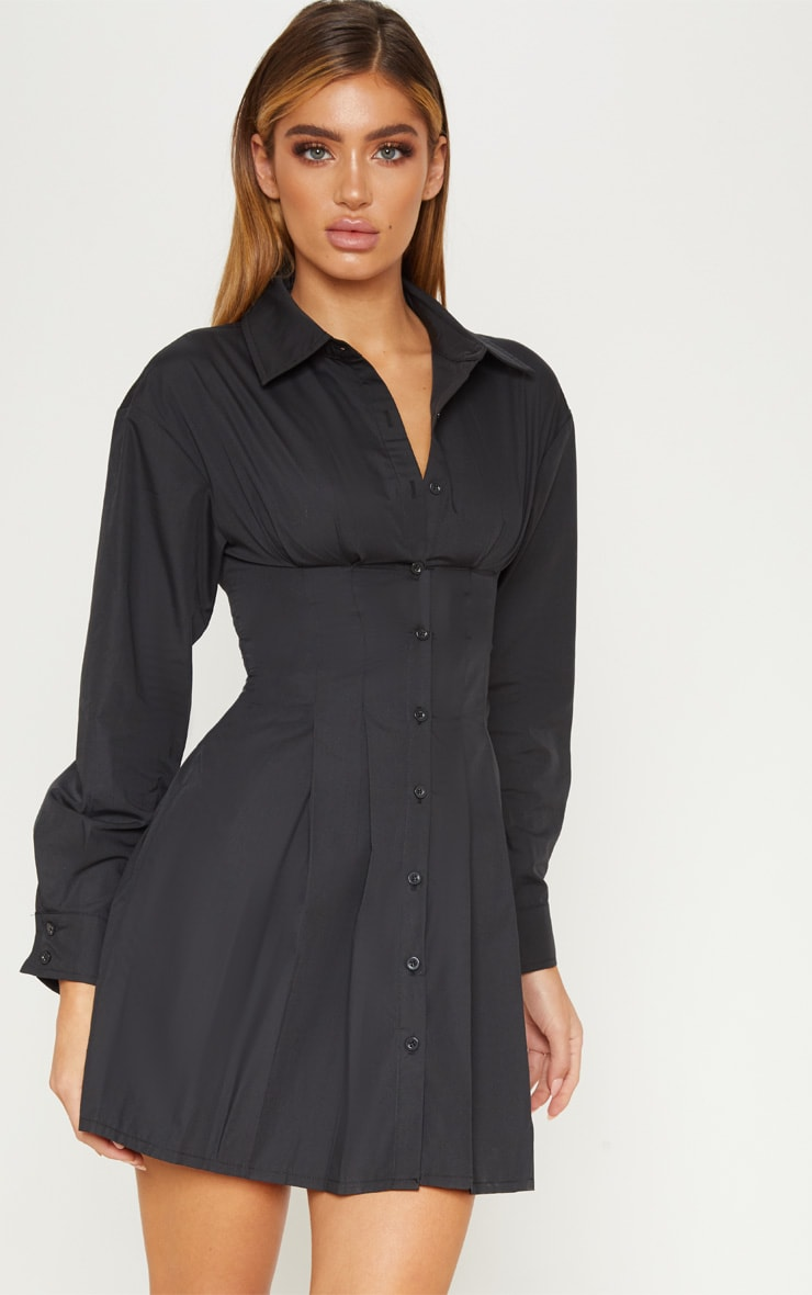 Black Pleated Waist Detail Shirt Dress 2