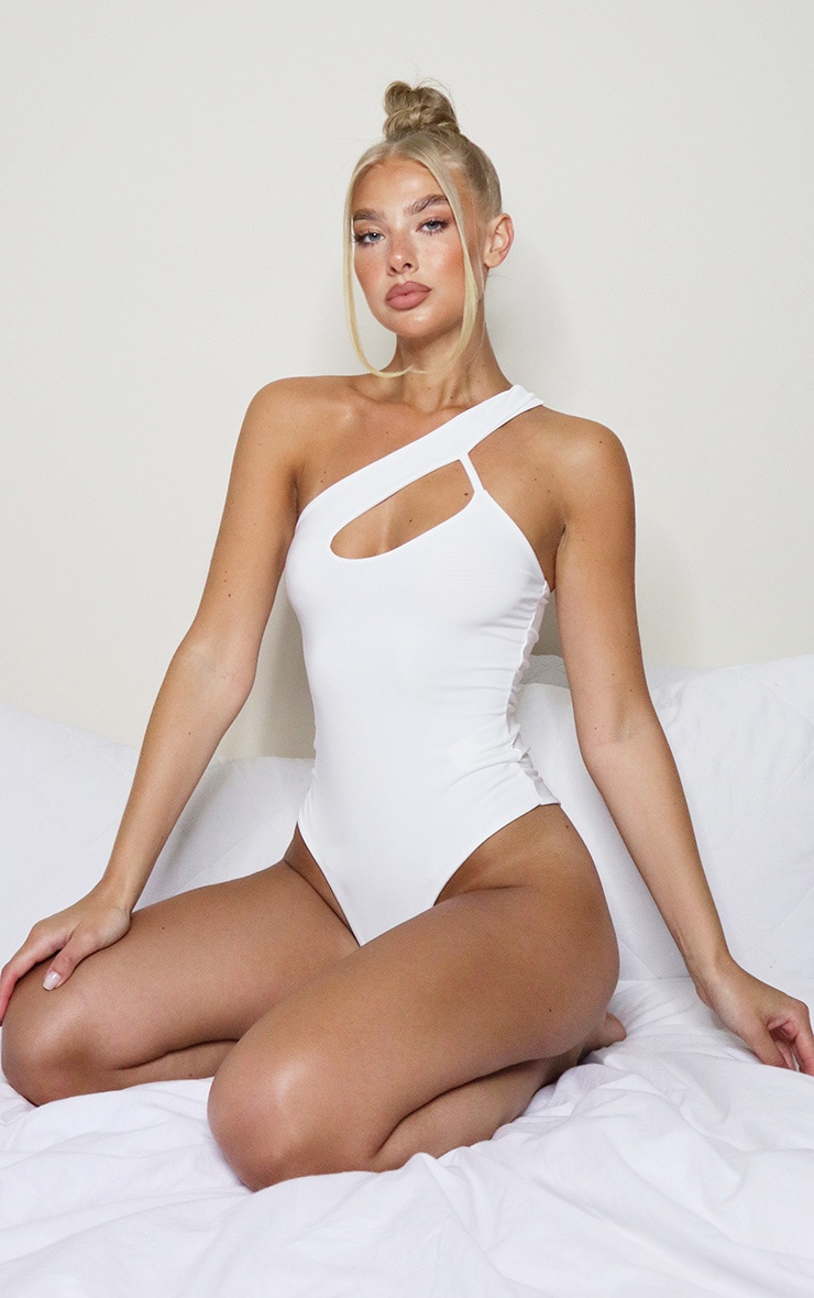 White One Shoulder Cut Out Bodysuit 2