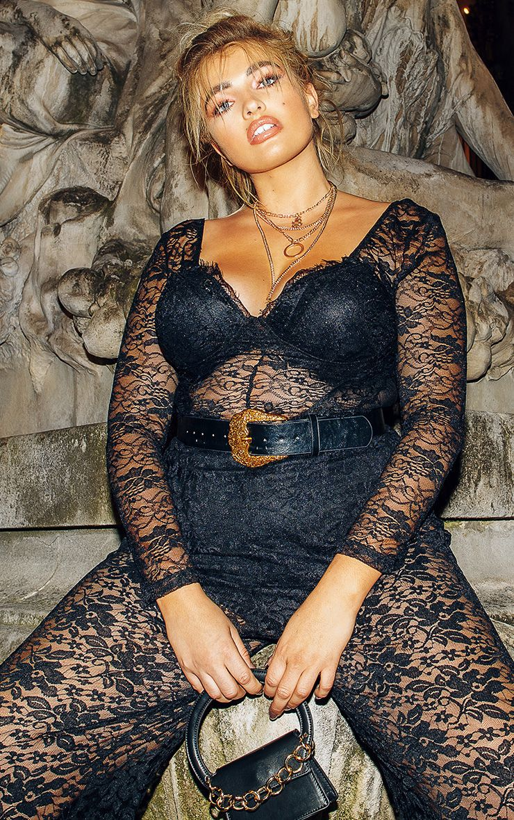 Plus Black Lace Mesh Long Sleeve Bodysuit 1